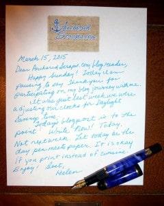 Hand written letter to AnchoredScraps.com blog reader March 15, 2015