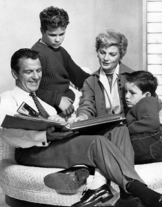 """1960 photo of the Cleaver family from the television program Leave it to Beaver. From left: Hugh Beaumont (Ward), Tony Dow (Wally), Barbara Billingsley (June), Jerry Mathers (Theodore AKA """"Beaver""""). Attribution: By ABC Television (eBay item photo front photo back) [Public domain], via Wikimedia Commons"""