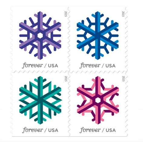 New Geometric Snowflakes Stamps available beginning today