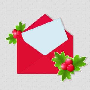 Red envelope with holly and letter, for Ode to Christmas Eve Rainbow Bridge post