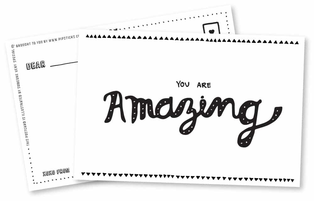 Pipsticks Amazing Printable Postcards