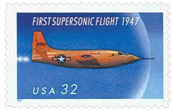 Chuck Yeager & First Supersonic Flight Stamp
