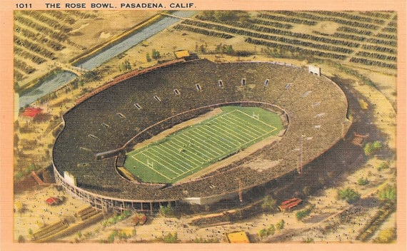 Rose Bowl Vintage Postcard 1950s