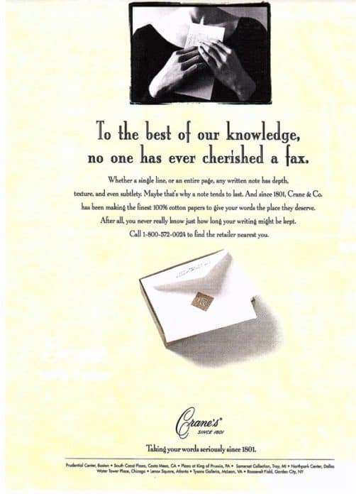 CraneandCo Vintage Letter Writing Advertisement