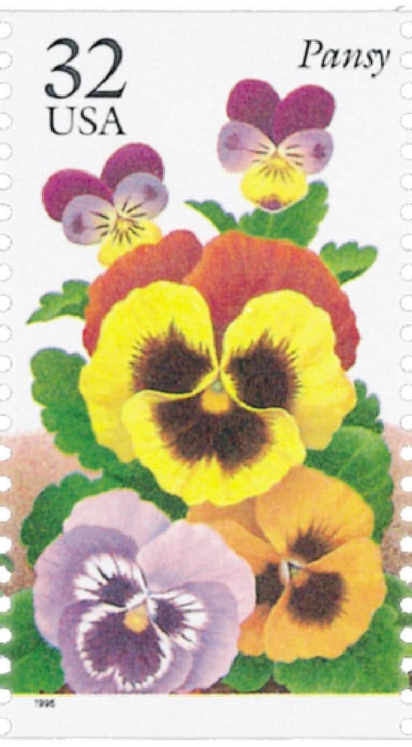 Pressed Pansies Flowers Notecards and 1996 Pansy Stamp