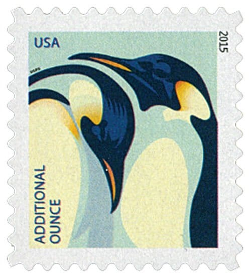 Antarctica Penguin Post Office & 2015 Penguins Additional Ounce Rate Stamp