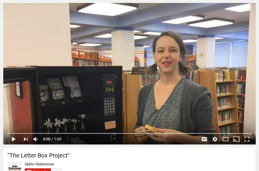 Idaho Statesman Video Image of The Letter Box Project Vending Machine