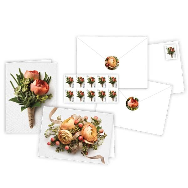 USPS Celebration Corsage Boutonniere Notecards