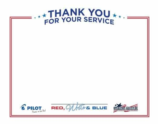 Pilot Pen Partnership Operation Gratitude 2017