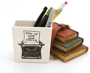 One of the two Typewriter themed Pencil Cups we are looking at to enjoy with our letter writing.