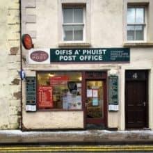 Portree, Scotland Tiny Post Office Employee Jax & Adorable Job Title