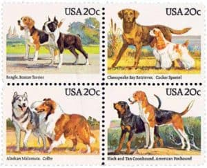 Image block of 4 USPS Stamps USA-2098-2101 American Kennel Club 100th