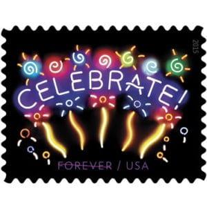 Neon Celebrate! Forever Stamp