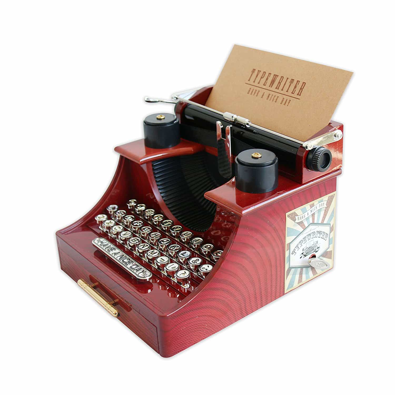 Red Vintage Typewriter Music Box