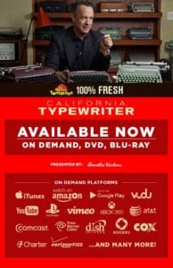 California Typewriter Movie now available On Demand, DVD, and Blu-Ray