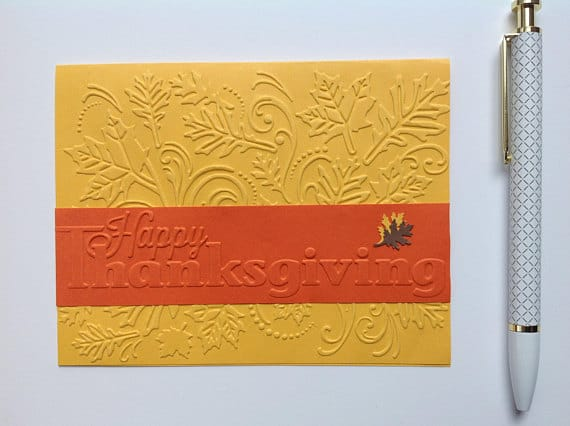 Elegant Thanksgiving Embossed Handmade Card by UpliftExpress