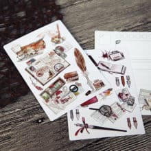 Retro Steampunk Fountain Pen Postcards