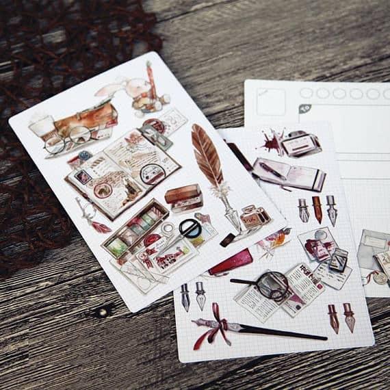 Retro Steampunk Fountain Pen Postcards