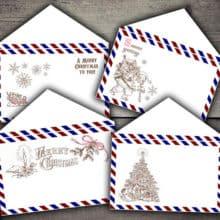 Christmas Air Mail Envelopes Digital Printables