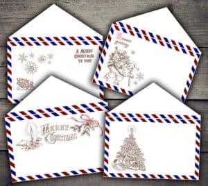 Christmas Air Mail Envelopes