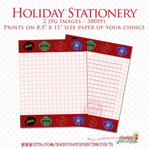 Ugly Christmas Sweaters Stationery Printables