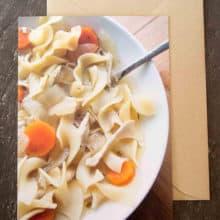 delicious grEATings recipe card: Healthy Chicken Noodle Soup