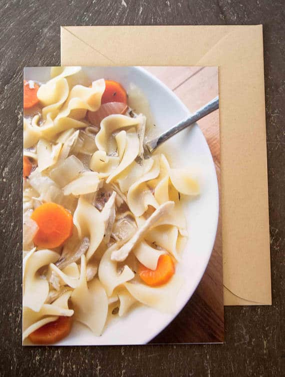 delicious grEATings recipe card: Healthy Chicken Noodle Soup