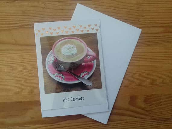Hot Chocolate Blank Greetings Card & Marshmallows