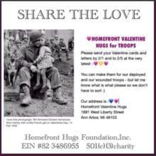 Sending Homefront Valentine Hugs for Troops