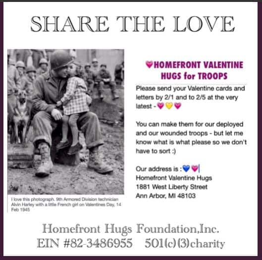Sending Homefront Valentine Hugs for Troops