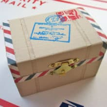 Whimsical Air Mail Postal Package Trinket Box