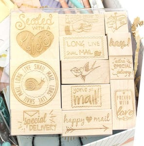 Happy Mail Engraved Wood Rubber Stamp Set