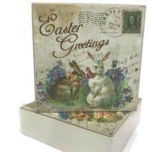 Happy Easter Postcard Decorative Wooden Box Signs