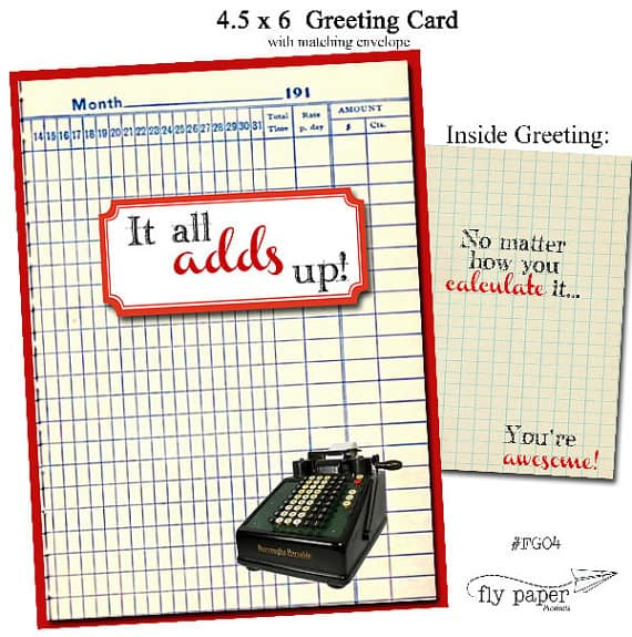 Math Geek Themed Thank You card