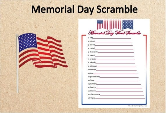 Memorial Day Word Scramble Printable Activity