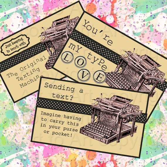 Steampunk Texting Machine Postcard Printable