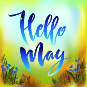 """Calligraphy quote hello may. Handwritten lettering with watercolor background""""..."""