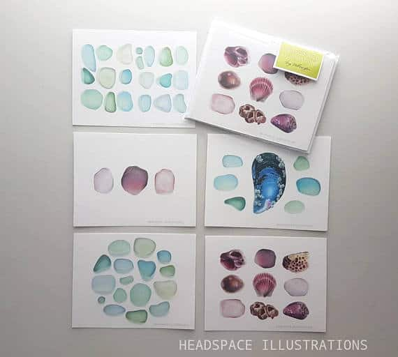 Seaglass Notecards Greeting Set Stationery