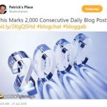 Celebrating Patricks Place 2000 Consecutive Daily Blog Posts