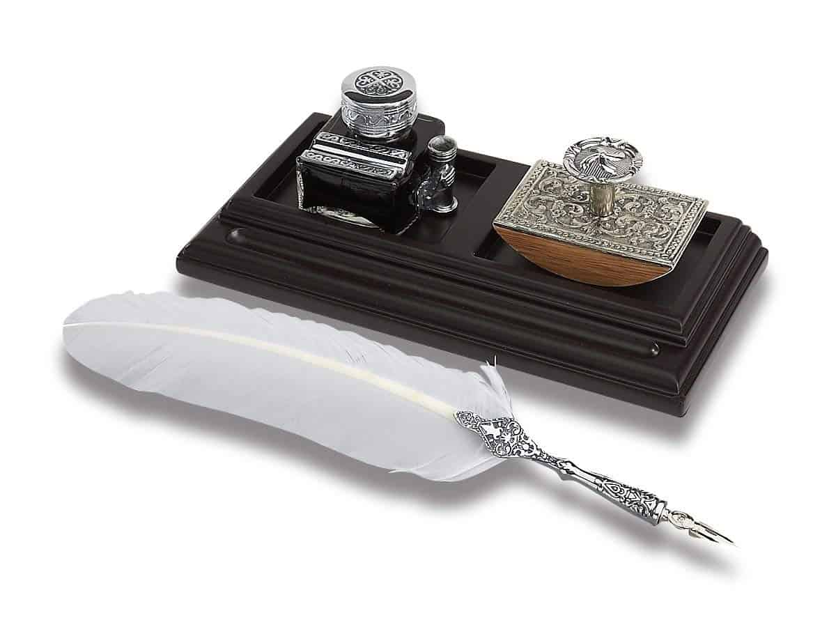 This Desk Organizer Bundle Contains Quill Pen Inkwell & Blotter