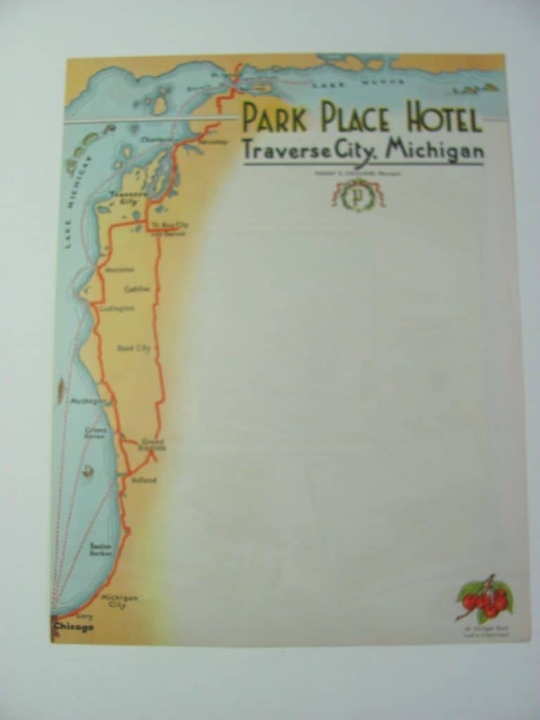 Collecting Hotel Stationery ORIGINAL 1930s TRAVERS CITY MICHIGAN PARK PLACE HOTEL stationery from ebay listing