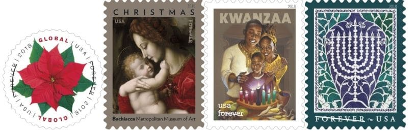 Upcoming 2018 Holiday USPS Forever Stamps | AnchoredScraps com
