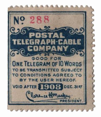 Telegraph Stamps – 1908 Postal Telegraph-Cable Company
