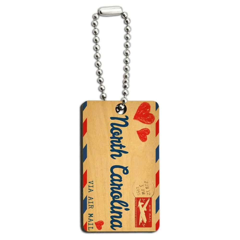 Air Mail Postcard Wooden Key Chain (for Name Your State)