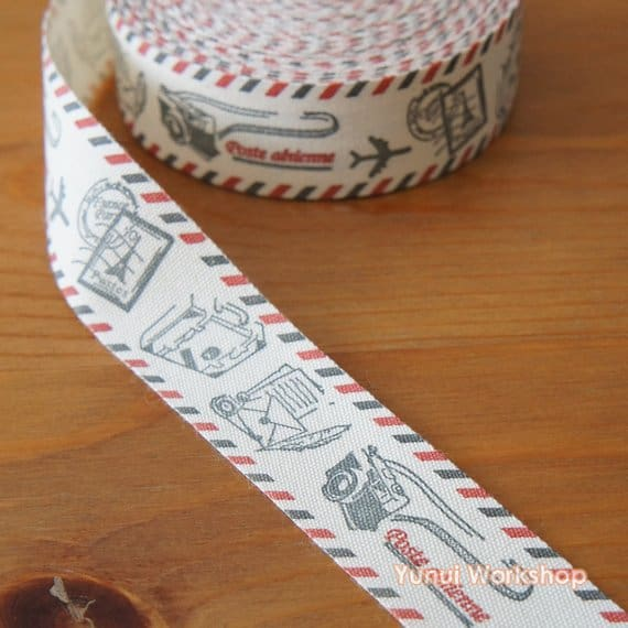 Fabric Airmail Border Ribbon