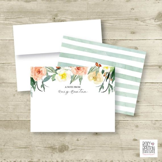 Autumn Bloom Watercolor Floral Bouquet Note Cards Roxy Benton Designs