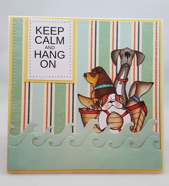 Hurricane Dogs Keep Calm Notecard