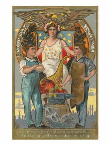 Vintage Americana Patriotic Labor Day Postcard