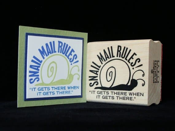 Snail Mail Rules Rubber Stamp