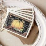 Sunshine and Ravioli Pumpkin Seed Label Note Card Set